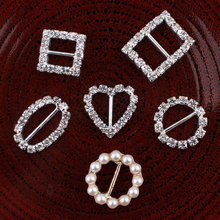 120pcs/lot 6styles Bling Metal Rhinestone Buckle Sliders For Bags Clear Crystal Ribbon Buckles For Wedding Decoration(China (Mainland))