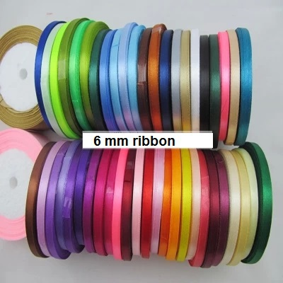"solid color (1/4"")6mm satin ribbons belt gift packing wedding decoration 22meter/ roll 10 rolls min order mixed colors vailable(China (Mainland))"