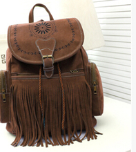 FLYING BIRDS! 2015 free shipping women backpack Tassel Backpacks Suede Leather school bag travel bags mochila feminina LS5736(China (Mainland))