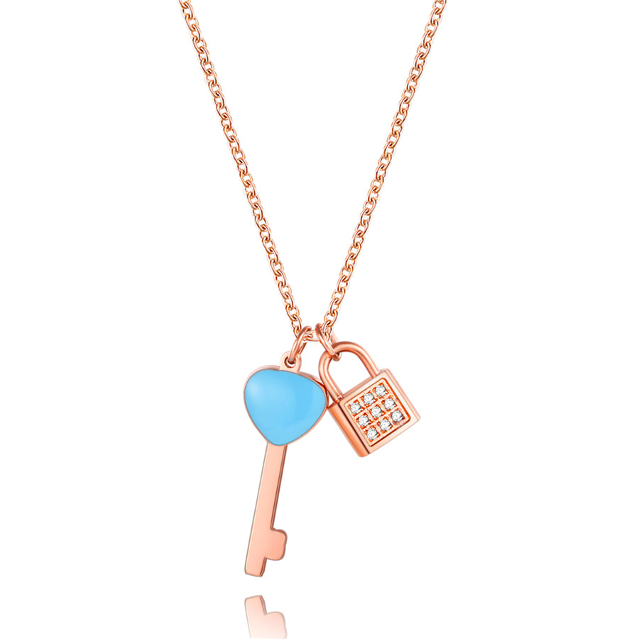Trendy Stainless Steel Blue Enamel Key Lock Pendants Necklaces Top CZ Crystal Overlay Rose Gold Plated Wholesales Brand Jewelry(China (Mainland))