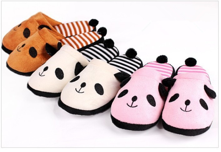 Adorable Fluffy Ladies Winter Warm Plush Anti-slip Panda Tail Women Slippers Free shipping(China (Mainland))