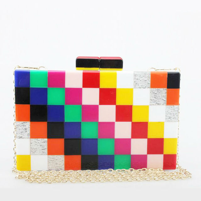 Европа мода стильный плед радуга акриловые вечерние сумки красочные сеть посланник кошелек ну вечеринку сумки летние конфеты сумка