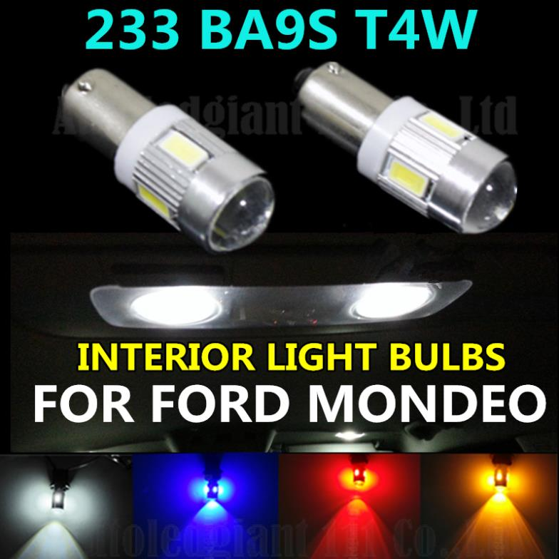 2PCS 233 T4W BA9S For Samsung 6 5630 SMD LED SUPER BRIGHT WHITE BLUE RED YELLOW CAR LAMP INTERIOR LIGHT BULBS FOR FORD MONDEO(China (Mainland))