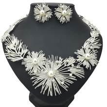 MANILAI גדול הצהרת פרח שרשרת סט אישה חתונה אפריקאי חיקוי פרל מתכת כלה עגילי שרשרת תכשיטי סטים(China)