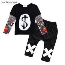 Buy Sun Moon Kids Girls Clothes Casual Children Clothing Set 2017 Boys Clothes Tattoo Sleeves T-shirt + Pants Girls Outfits Boy Suit for $6.75 in AliExpress store