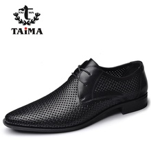 2016 New High Quality Genuine Leather Men Business Casual Shoes Men Woven Breathable Hole Gentleman Shoes Brand TAIMA 40-45