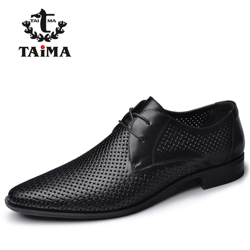 2016 New High Quality Genuine Leather Men Business Casual Shoes Men Woven Breathable Hole Gentleman Shoes Brand TAIMA 40-45(China (Mainland))
