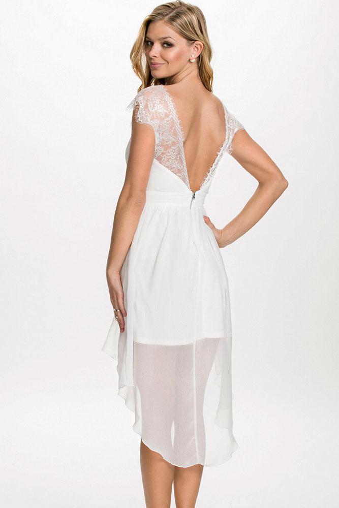 lace chiffon open back high low dress 2015 women summer