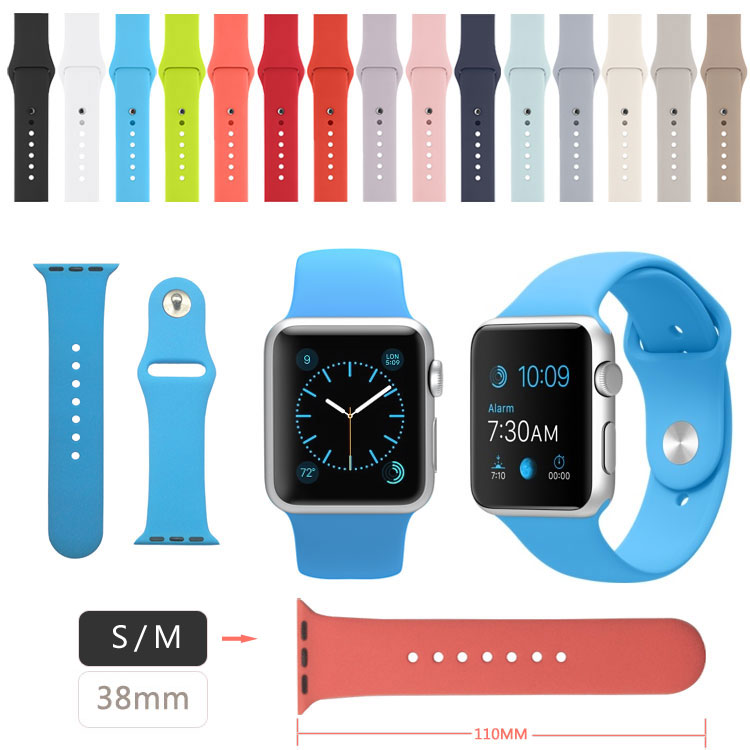 38MM S/M Watch Band for Apple Watch Silicone Band,Watchband for Apple Watch With Connector Adapter 38MM(China (Mainland))