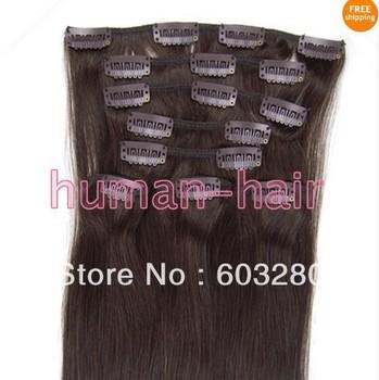 """20"""" (50cm) 8pcs/set clip in natural human hair extension #2 dark brown color 100gram"""