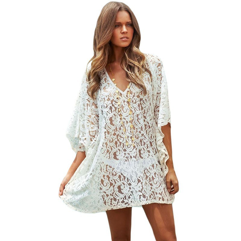robes playa t maillot de bain femmes sexy blanc dentelle kaftan plage wrap robe bikini plage. Black Bedroom Furniture Sets. Home Design Ideas