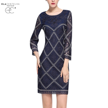Buy ElaCentelha Women Dress Ladies O-Neck Lace Embroidery Bodycon OL Dresses Autumn&Spring Ladies Plaid Work Pencil Dress Plus Size for $75.05 in AliExpress store