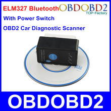 Top Sale Super Mini ELM327 Bluetooth With On/Off Power Switch ELM 327 OBD2 Diagnostic Scanner OBDII Tool For Multi Brand Cars(China (Mainland))