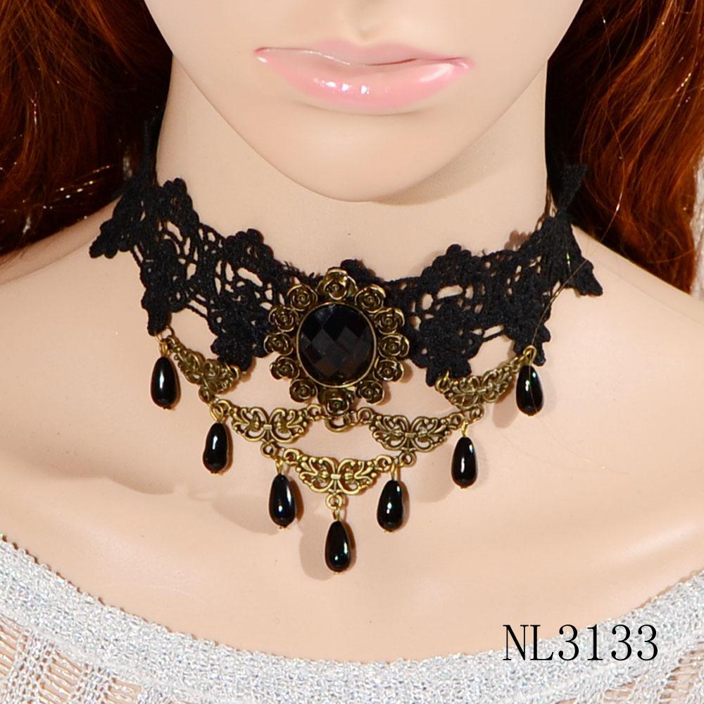 2016 fashion statement pendant collar new design sexy black choker lace necklace for women(China (Mainland))