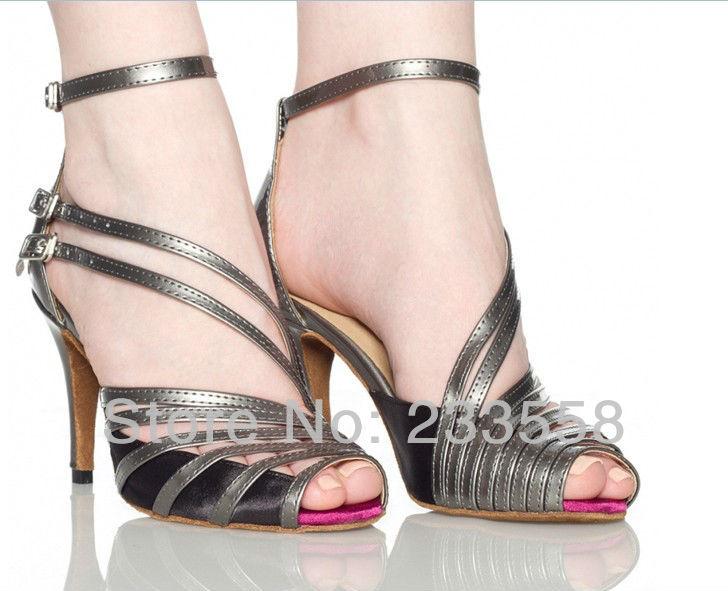 Contado por mayor 2016 la moda de nueva populares gris PU mujeres de zapatos de baile latino zapatos de tacón alto 8.5 cm 10 cm fiesta de Salsa zapatos de baile cuadrados(China (Mainland))