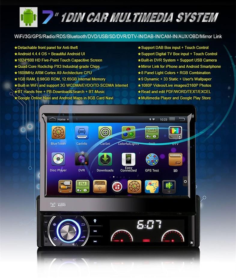 Купить 7 дюймов Android 1DIN Сенсорный Экран Dvd-плеер Автомобиля 1024*600 GPS Навигация Авто CD Стерео Радио Bluetooth Рулевого колеса