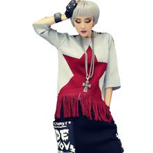New Style Fashion Trend Autumn Winter Female Sweater Casual O-Neck Pullovers Tassel Three Quarter Grey Black Women Loose Wear