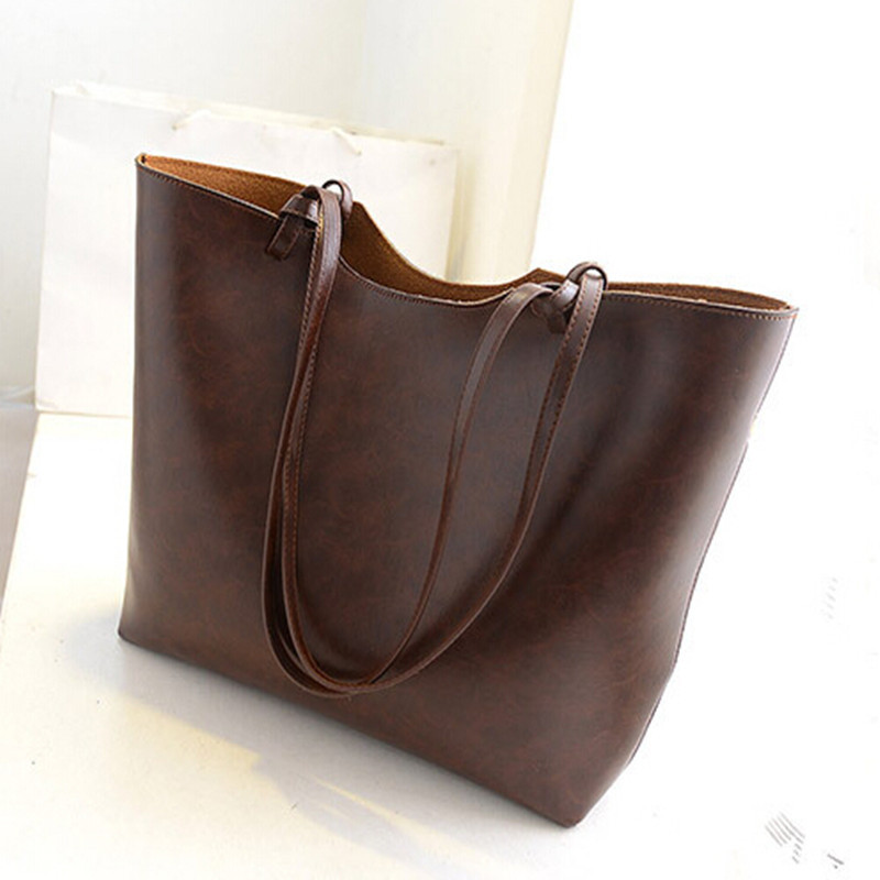 Casual Bags New 2015 Simple Design Women Handbags Vintage Women Shoulder Bags Large Tote Brown Women Bags Hot High Quality(China (Mainland))