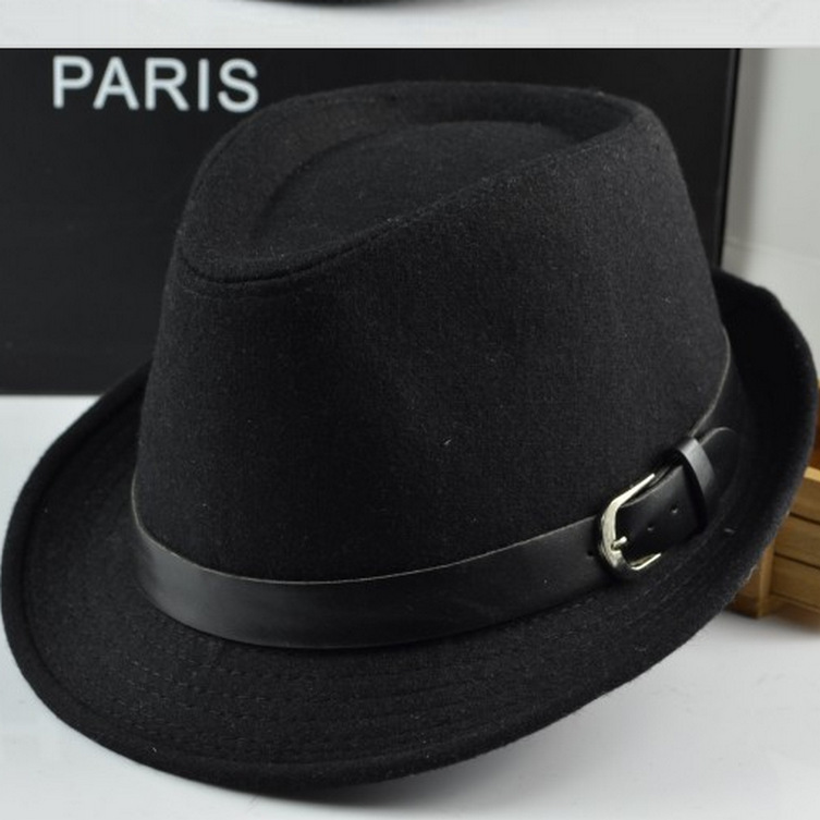 2015 New Brand Caual English Style Men and Women Hat Outdoor Fashion Black Jazz Fedora Hats High Quality Solid Cap 19962(China (Mainland))
