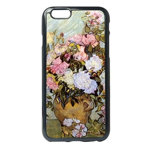 Mobie Phone Bag Cover for iPhone 6s Plus / 6 Plus Van Gogh Pink Roses Oil Painting TPU Back Shell Case(China (Mainland))