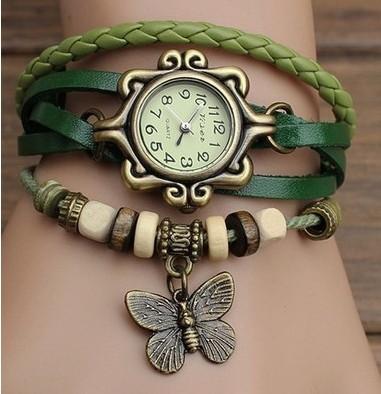 ladies women vintage bracelet watch butteryfly pendant Genuine cow leather quartz wristwatches 5 colours