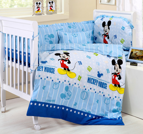 Promotion! 10PCS Mickey Mouse baby bedding set curtain berco cot bumpers crib sets (bumpers+matress+pillow+duvet)<br><br>Aliexpress