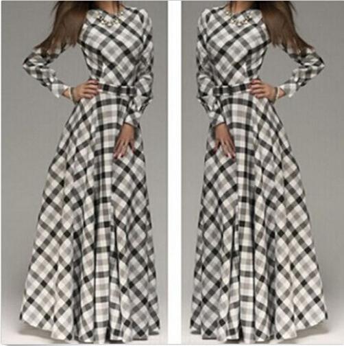 New Arrive Womens Summer Long Dress Full Sleeve O-Neck Plaid Elegant Dress Women Casual Maxi Dress(China (Mainland))