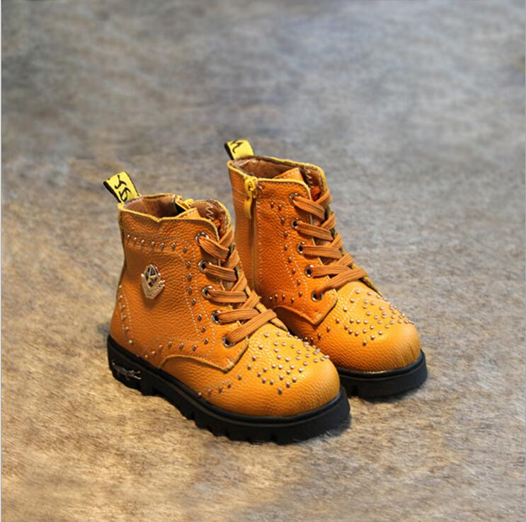 Y860276/81 Wholesale New 2015 Autumn Boys Boots Leather Flat With Fashion Boys Motorcycle Boots Metal Decoration Kids Shoes<br><br>Aliexpress