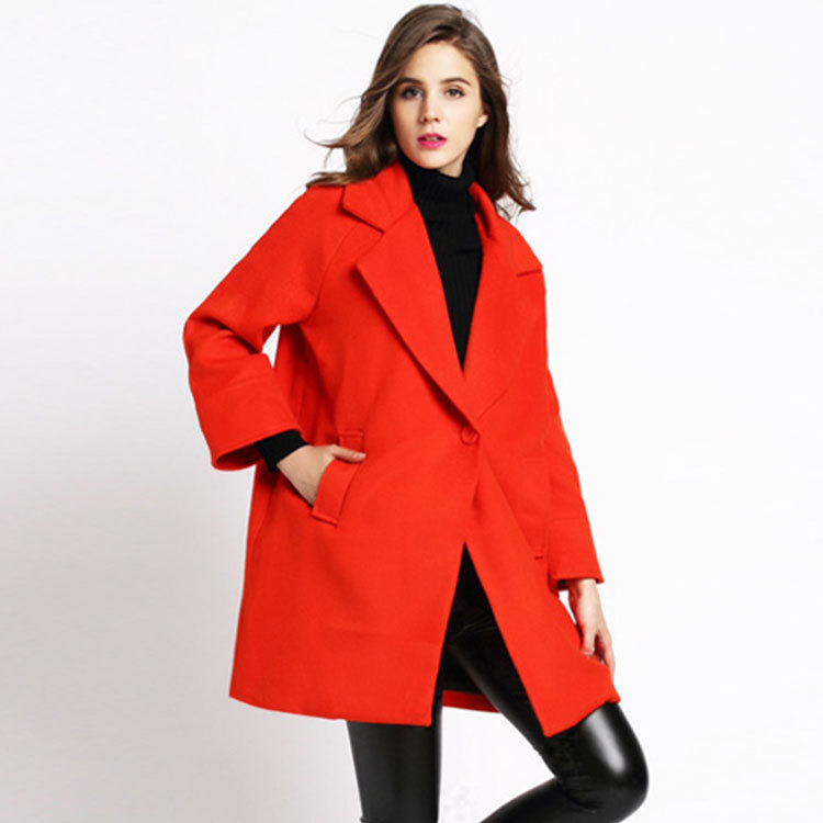 Autumn 2016 Europe and high-end fashion women wear woolen cloth button wool overcoats with raglan sleeves in women long wallets