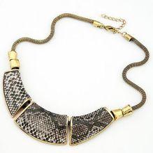 Fashion Geometry montage Snake Skin Vintage Necklace Jewellery XL-133(China (Mainland))