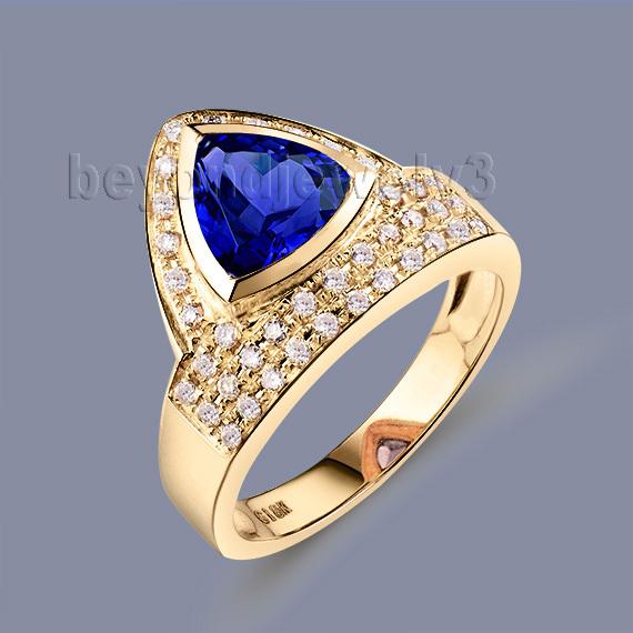 New!!! Gorgeous Jewelry 7.5mm Trillion Tanzanite 18Kt Yellow Gold Diamond Wedding Ring SR329A<br>