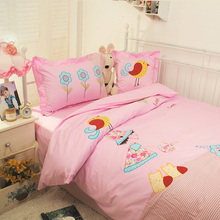 2014 new hot Character home textile  Korean Applique Embroidery Children cartoon 100% bedding set Anime Single bed 3pcs bedsheet(China (Mainland))