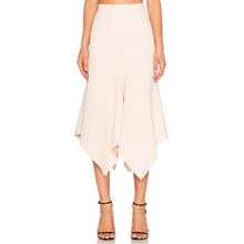 Spring Skirts Womens 2016 High Waist Mid-calf Asymmetrical Ruffle Hem Package Hip Long Chiffon Skirt Dropshiping