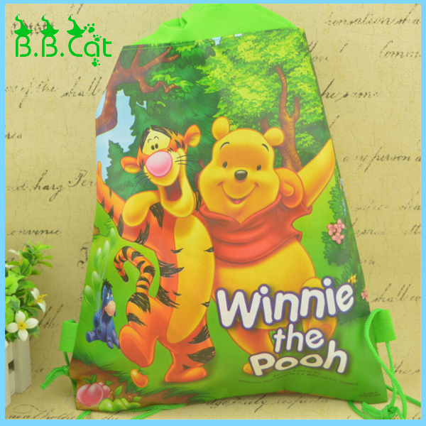 Winnie the Pooh Plush Cartoon Kids Drawstring Printed Backpack beach Shopping School Traveling Bags Free Shipping(China (Mainland))
