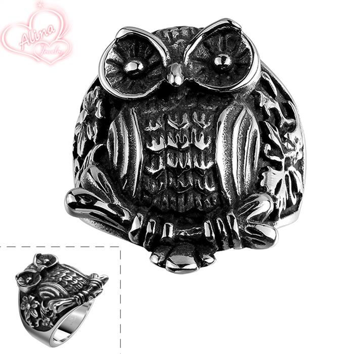 Owl Ring Jewelry Stainless Steel Ring Party Jewelry Gift Wholesale 2015 New Domineering Strong Animal Bands Ring Men Jewelry(China (Mainland))