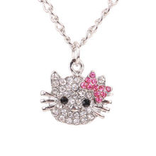 Cute Hello Kitty Cat Design Pendant Chain Necklace Charm Clear Rhinestone Fashion Jewelry Necklace Lovely Cute