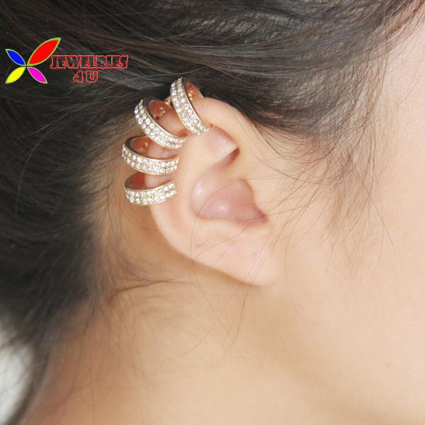 Brand New Fashion Elegant Novelty Golden Silver Rhinestone Cocktail non-piercing Ear Cuff Earrings For Woman Brincos Bijouxs(China (Mainland))