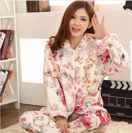 Package mail qiu dong flannel pajamas thickening coral fleece women suit cotton female long-sleeved household take - The international fashion clothing stores store