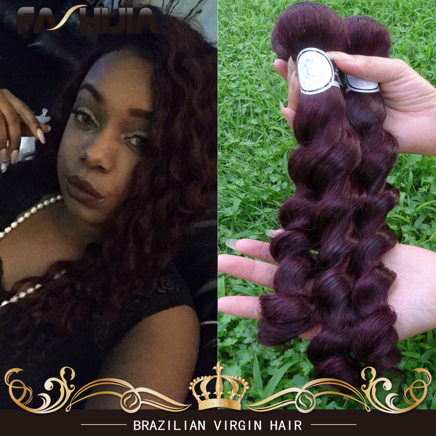 Hot Cheap Brazilian Loose Wave 99j Virgin Human Hair Bundles Burgundy Brazilian Hair  Loose Wave Hair 3pcs Red Burgundy Weave<br><br>Aliexpress