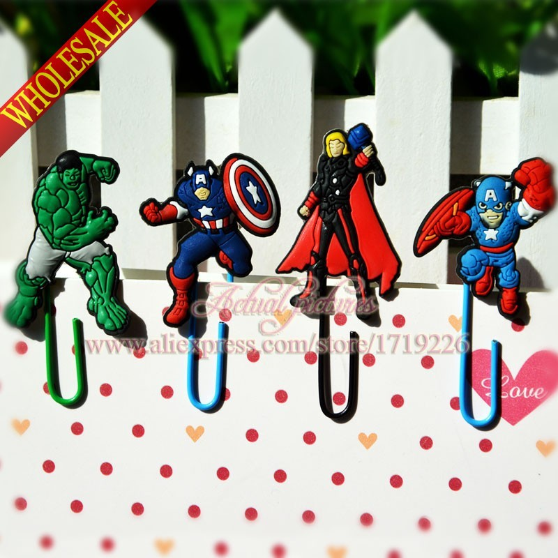 80PCS Avengers Batman Spider-Man Superman Ironman Bookmarks  Paper Clips for Books Pages Holder ,Office School Supplies<br><br>Aliexpress