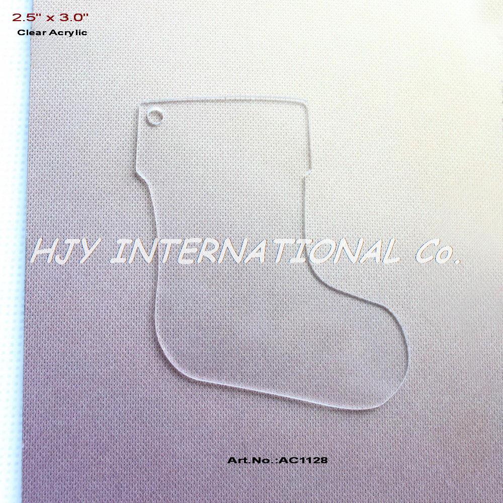 "(20pcs/lot) 76mm Blank Clear Acrylic Stockings Tags Eco-Friendly Christmas Key Chains 3""-AC1128(China (Mainland))"