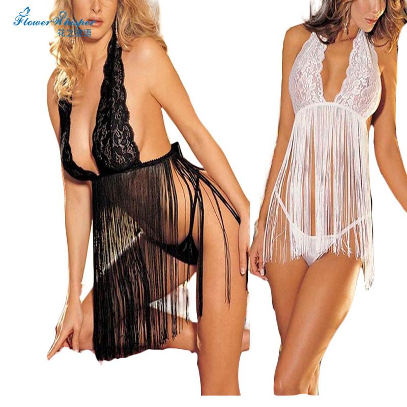 1pcs Women Ladies Sexy Lace Underwear Tassel Nightwear Sexy Lingerie Set G-string + Underwear Kimono Erotic Sex Toys QQ031
