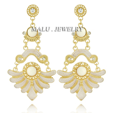 New Big Fashion Exaggerated  Metal Cloth Water Drop Charm Golden Earrings Rhinestones Resin Vintage Jewelry For Women ER080(China (Mainland))