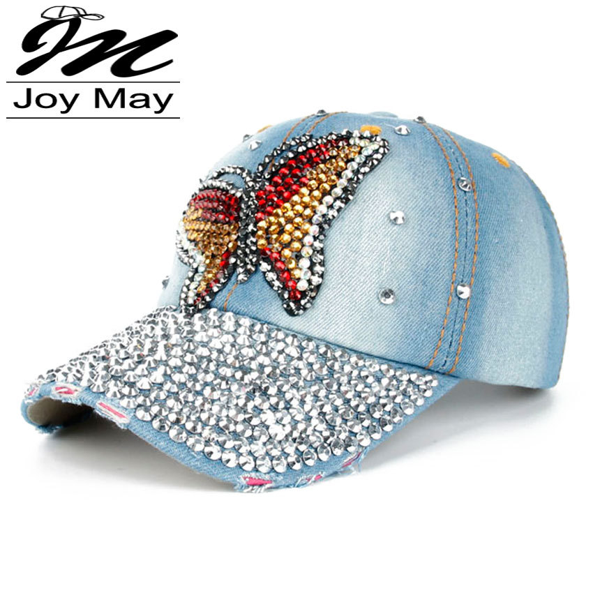 Free shipping Fashion Cotton Jean Caps Women Rhinestone baseball cap Lady JEAN summer hat jean snapback caps denim berets caps(China (Mainland))