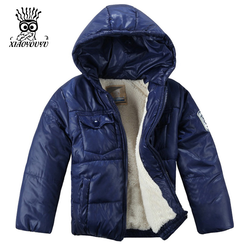 XIAOYOUYU Size 100-120 Little Boy Winter Jacket With Cotton-Padded Hooded Collar Kids Coat Top Quality Thicken Children Outwear(China (Mainland))