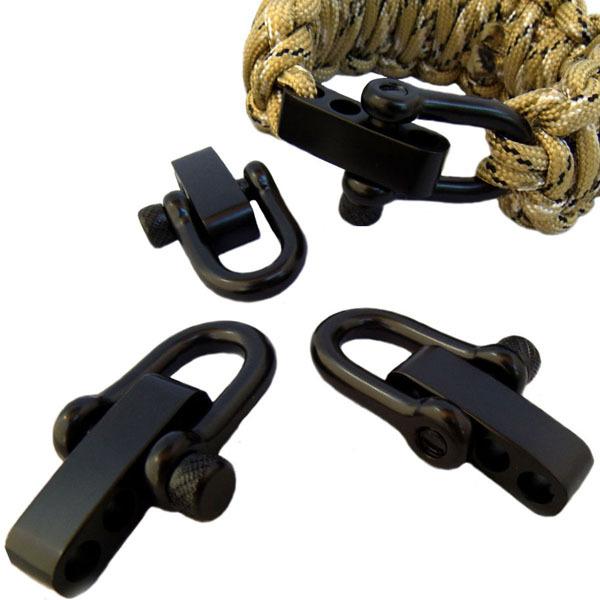 10Packs/lot free ePacket ship Black Stainless Steel D Adjustable PARACORD BRACELET BUCKLES SHACKLES