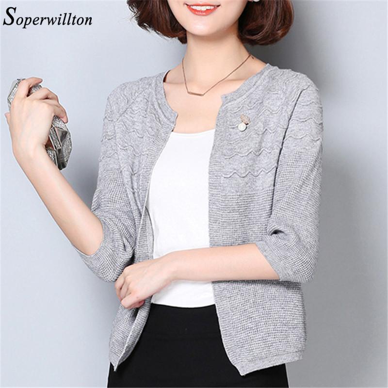 Soperwillton 2016 New Autumn Wool Cardigan Women Casual Sweaters Jumpers Long Sleeve Short Cardigans Female 3 Colors #C946(China (Mainland))