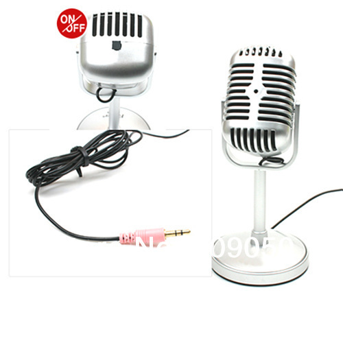 3 5mm classic style desktop microphone siliver color mic