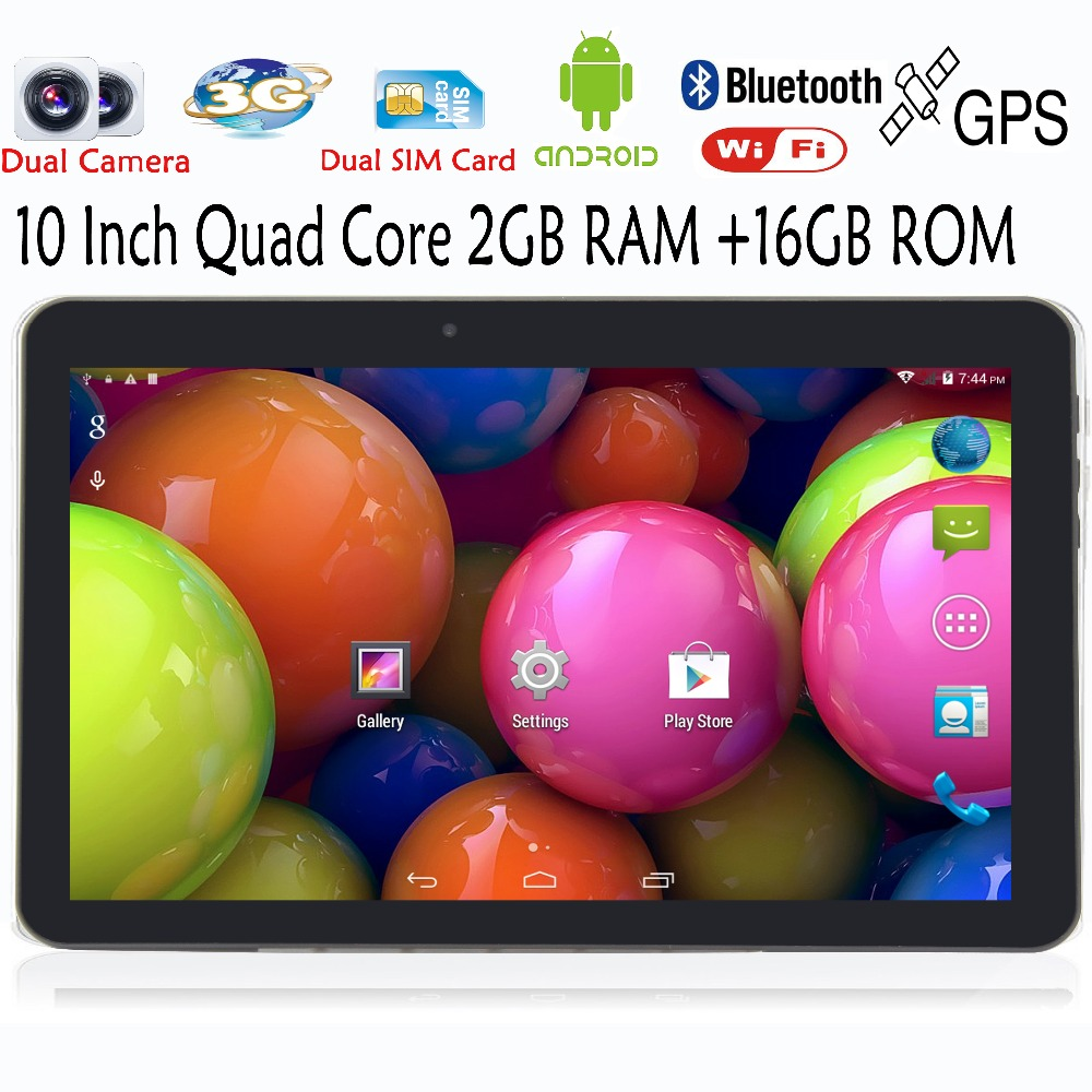 10 Inch WiFi GPS FM Bluetooth 2G+16G Tablets Pc  Built-in 3G Phone Call Android Quad Core Tablet pc Android 4.4 2GB RAM 16GB ROM