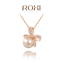Roxi Fashion Women's Jewelry High Quality Hand Made Rose Gold Plated Austrian Crystals & Pearl Chain Statement Pendant Necklace